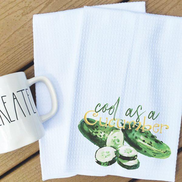 Tea towel cool as a cucumber